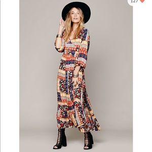 Free People Kanako Print Maxi Dress patchwork